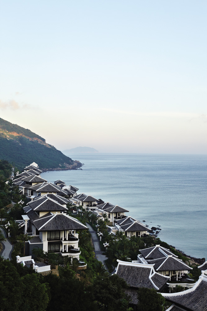 Overlooking the tiled rooftops of the InterContinental Danang's accommodation blocks.