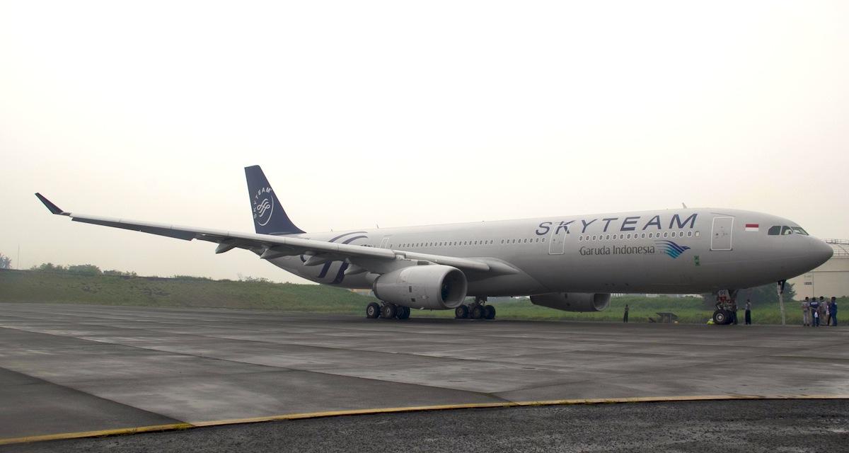 A Garuda plane dressed in official SkyTeam livery.