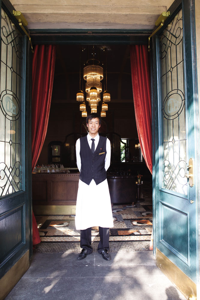 A waiter at Brasserie Flo, in the Italian Concession area.