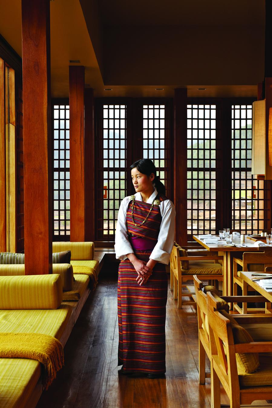 A waitress at Amankora Thimpu.