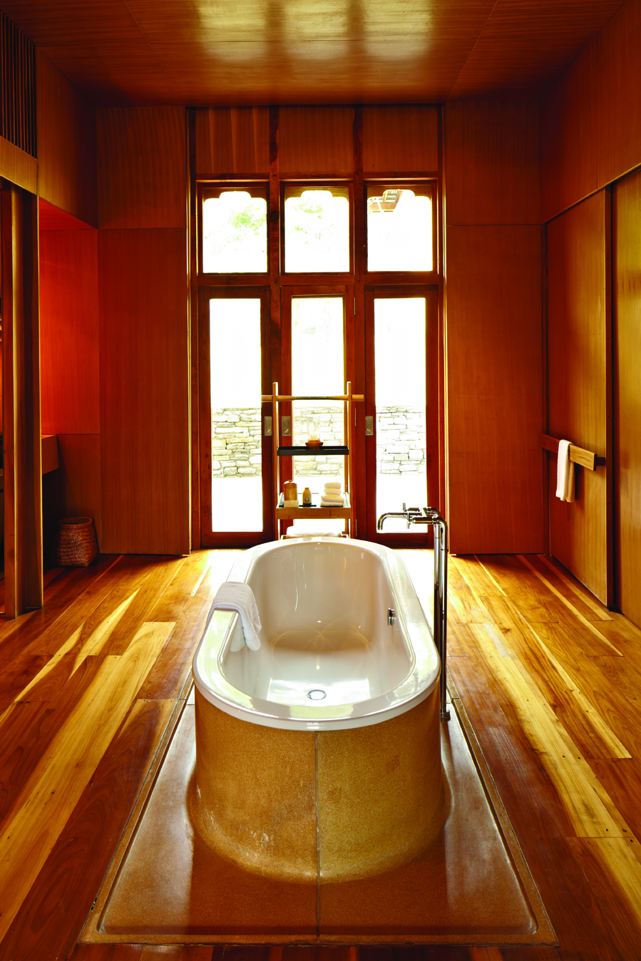 Sybaritic touches in a suite at Amankora Punakha include terrazzo-clad tubs.