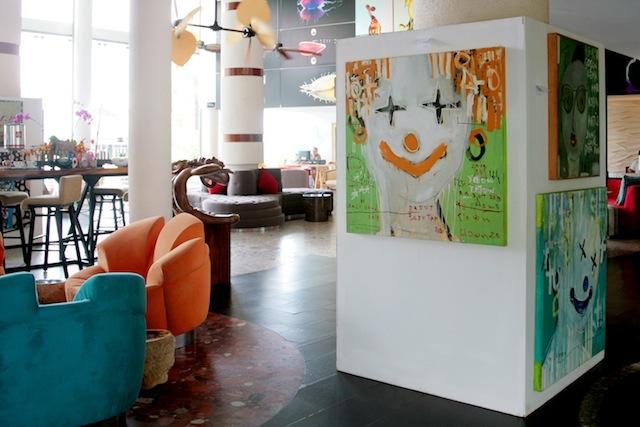 Galih Hendra Swastika's clown-themed art on display.