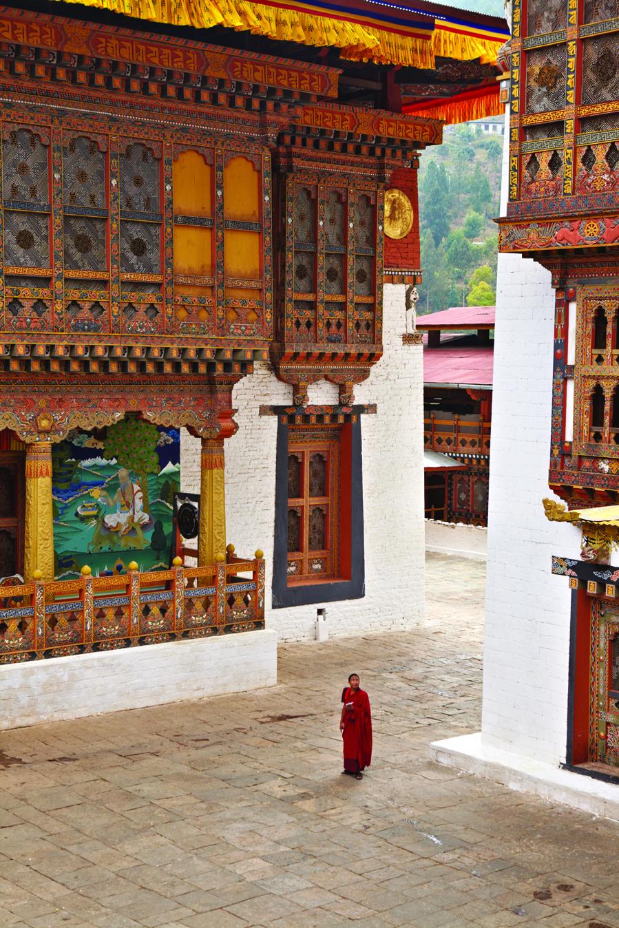 A courtyard at the grand Punakha Dzong.