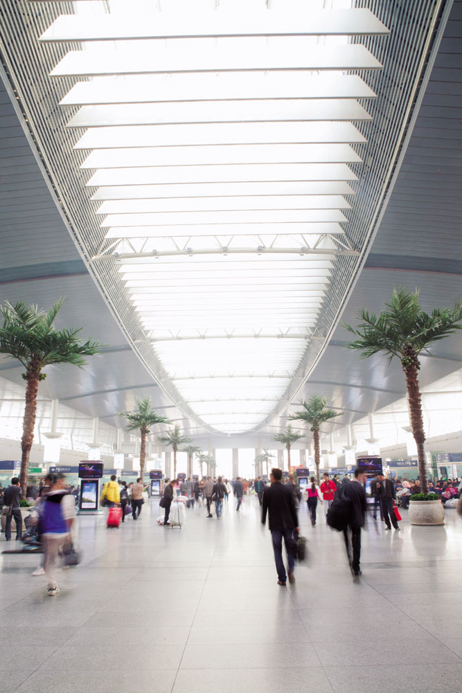 A concourse inside Tianjin's state-of-the-art train station.
