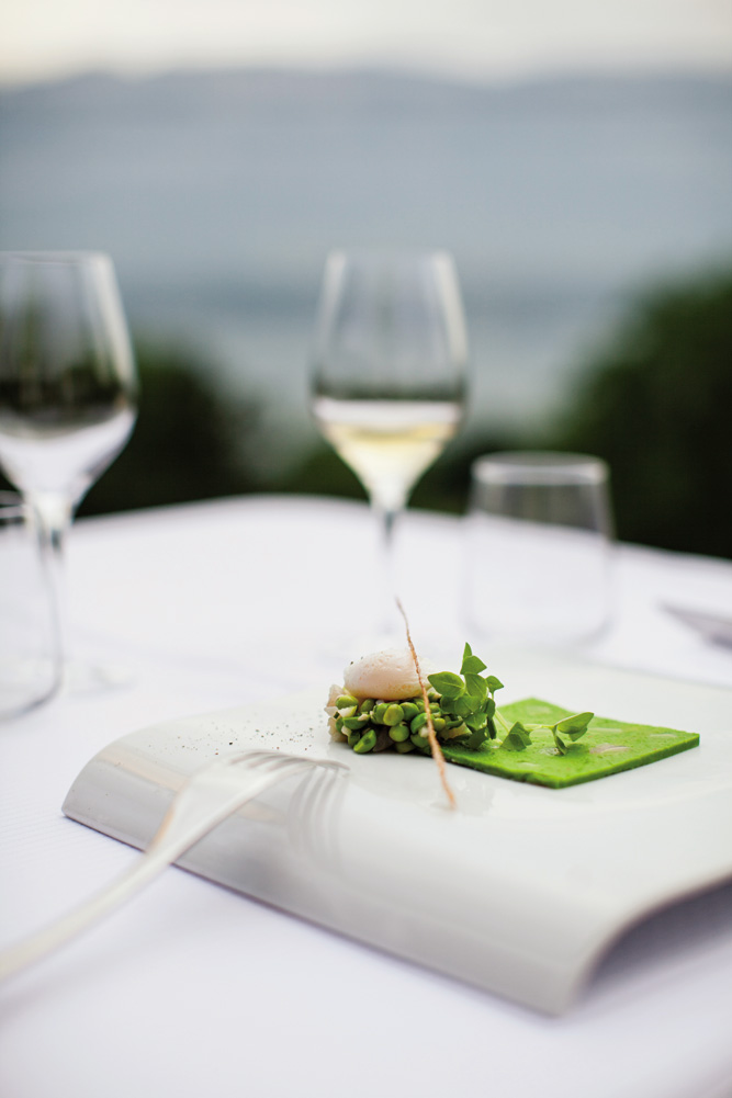 Alain Perrillat-Mercerot's seasonal ingredients-focused menus might include poached quail egg and pea puree.