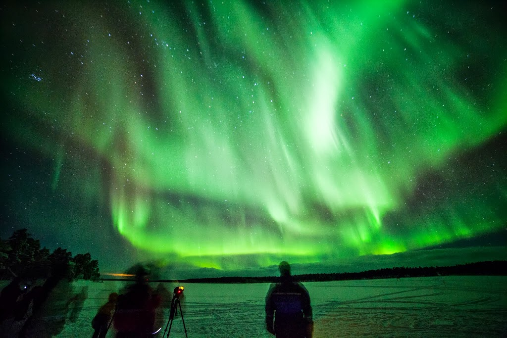 A particularly active aurora borealis seen at the Nellim Wilderness Hotel in Finland.