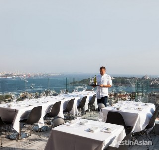 Rooftop restaurant Mikla affords views across the Golden Horn to Topkapi Palace and the sixth-century Hagia Sophia.