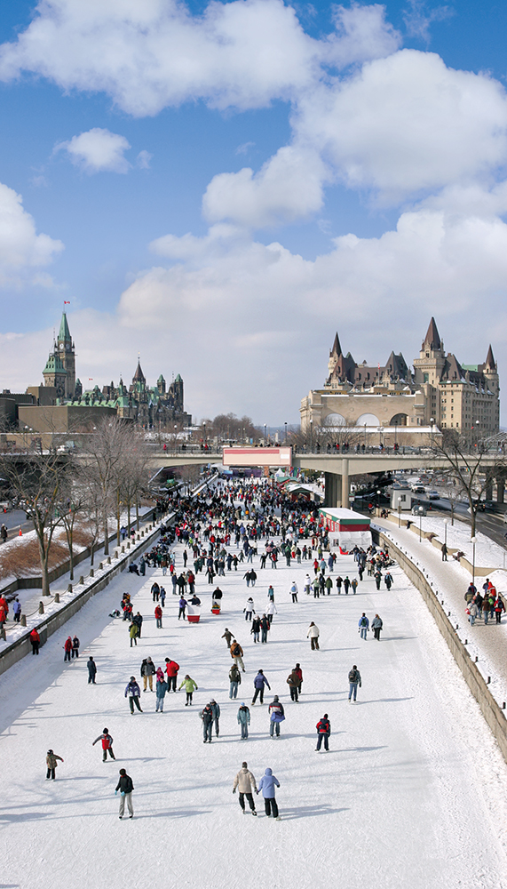 The freezing of the Rideau Canal makes it the largest outdoor skating rink in the world.