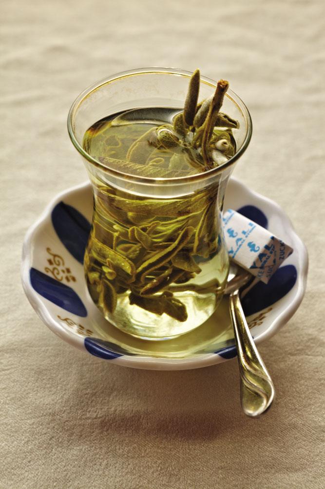 A glass of sage tea.