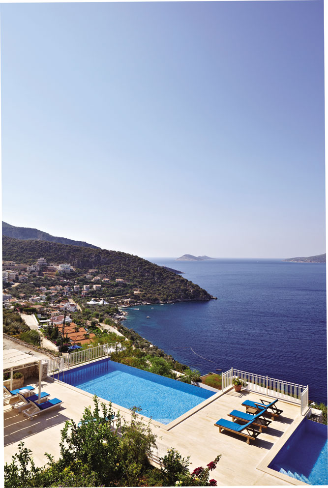 The view of Kalkan Bay from a balcony at Blue Bay Apartments, in the Kisla area.
