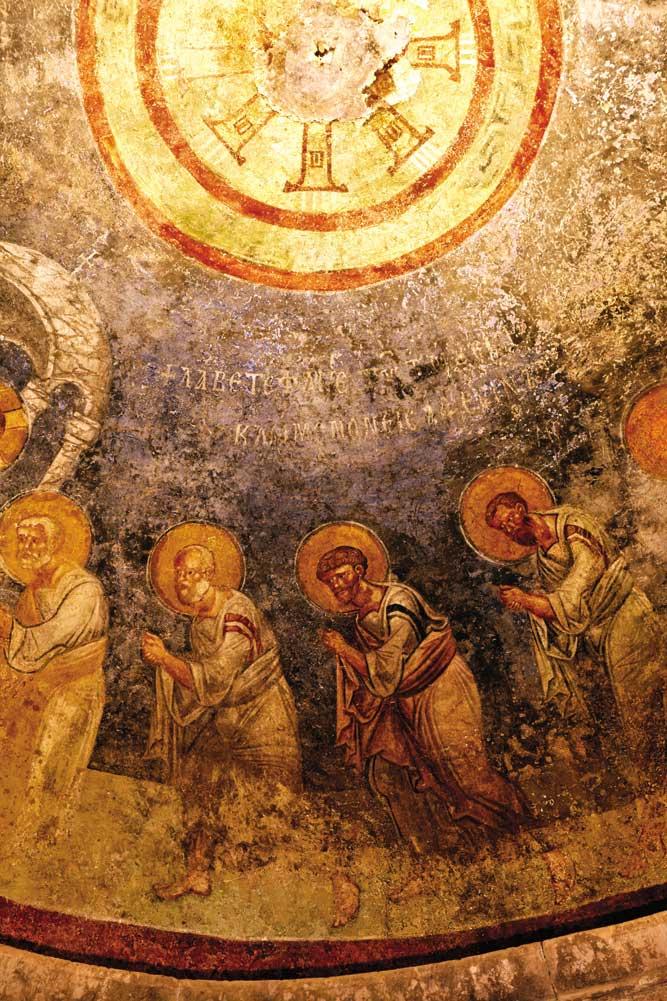 A Byzantine fresco on the chapel ceiling of St. Nicholas Church in Demre.