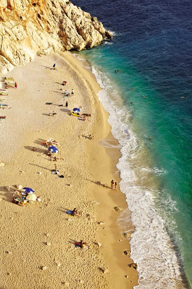 A 10-minute drive from Kalkan, Kaputas Beach nestles at the foot of a mountain gorge.