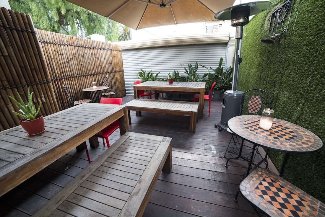 The charming courtyard of Isit Café.