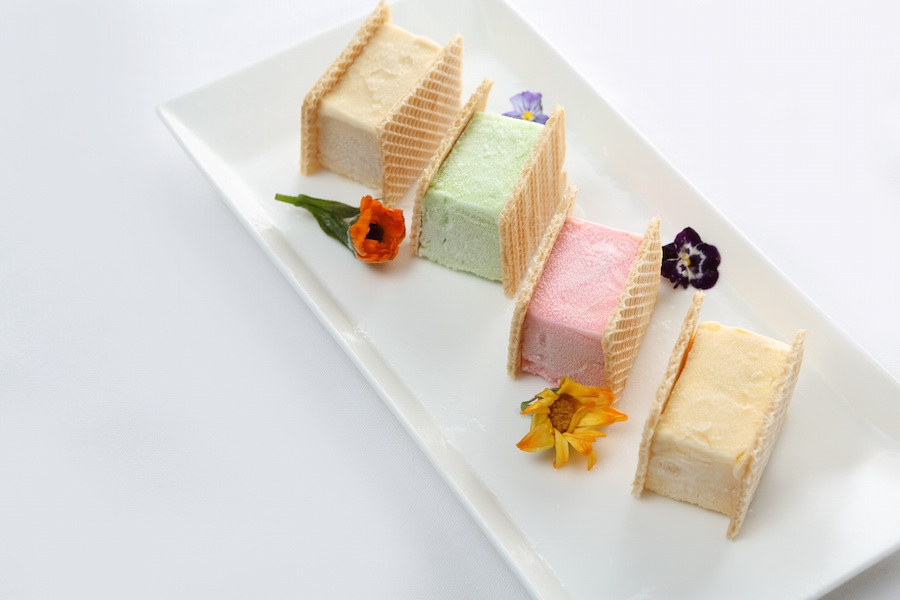 Singapore's famous wafer-sided ice cream sandwiches come in four flavors.