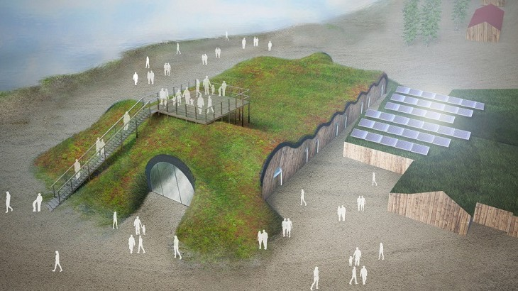 A sketch of Icehotel's upcoming permanent property in the summer.