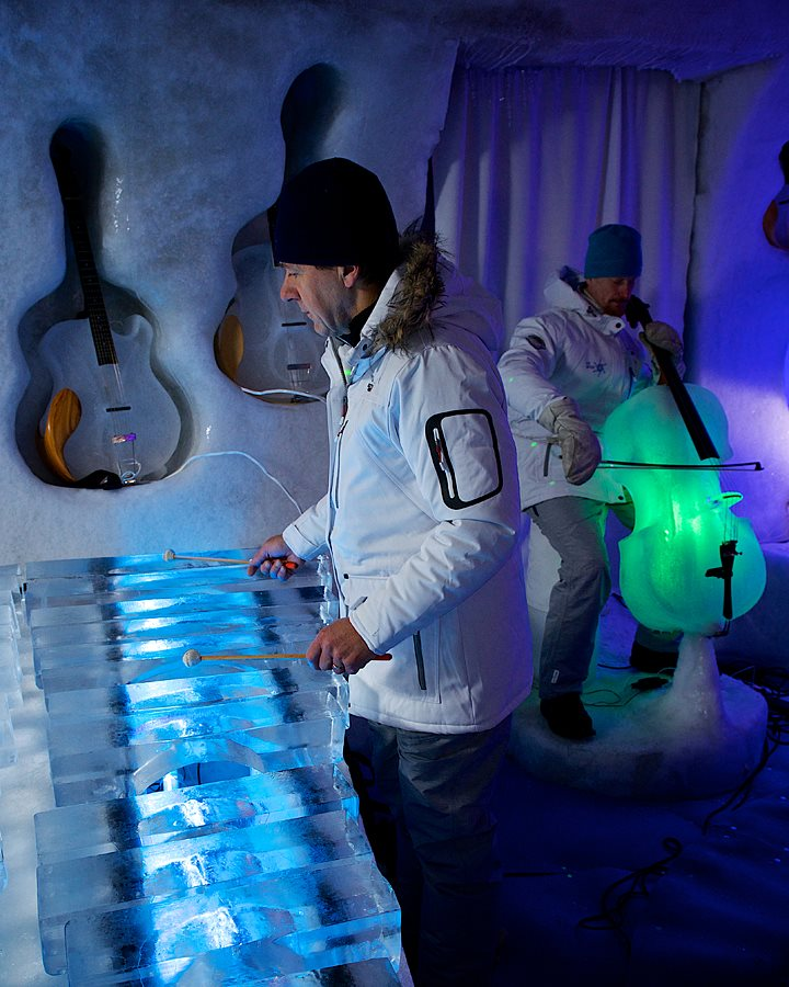 It takes one week of handcrafting the ice to create an instrument.