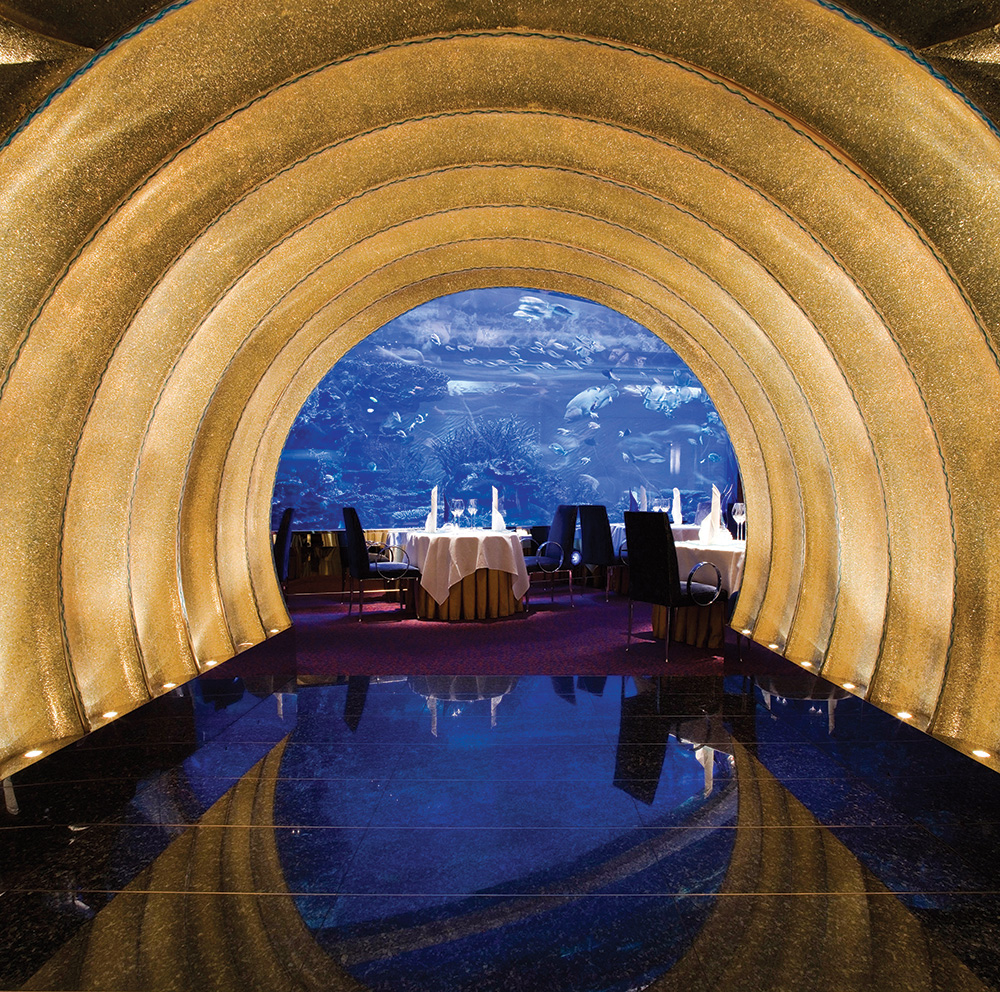 Aquarium-side dining at Al Mahara.