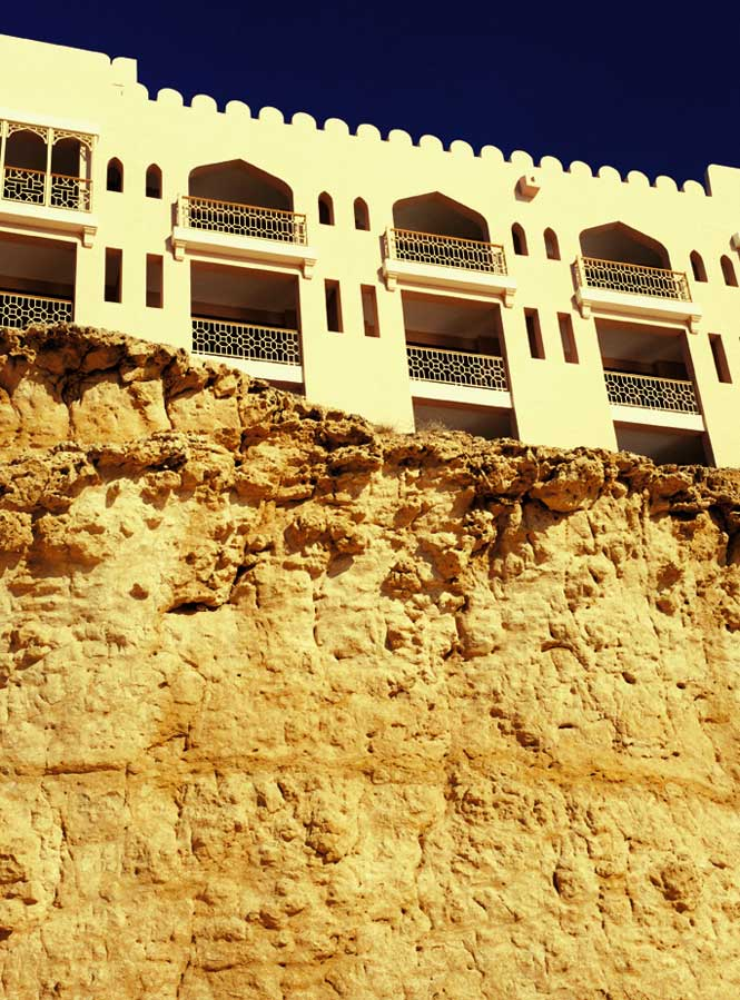 Part of the same complex, the Al Husn hotel is set on a limestone bluff overlooking the Gulf of Oman.