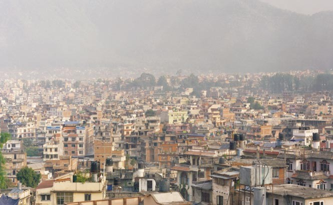 A view over the rooftops of Kathmandu.