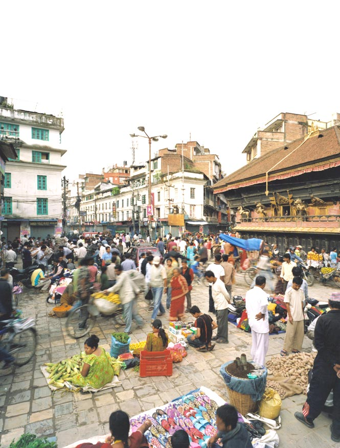 Market Value Early-morning crowds at Indra Chowk.