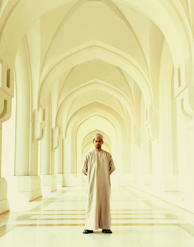 In an arched corridor of the ceremonial Al Alam Palace in Muscat's old quarter.