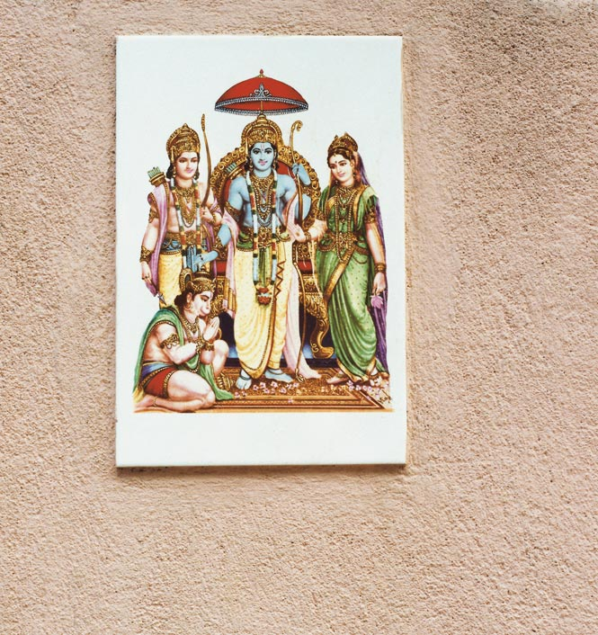 A wall plaque depicts a scene from the Hindu epic Ramayana.