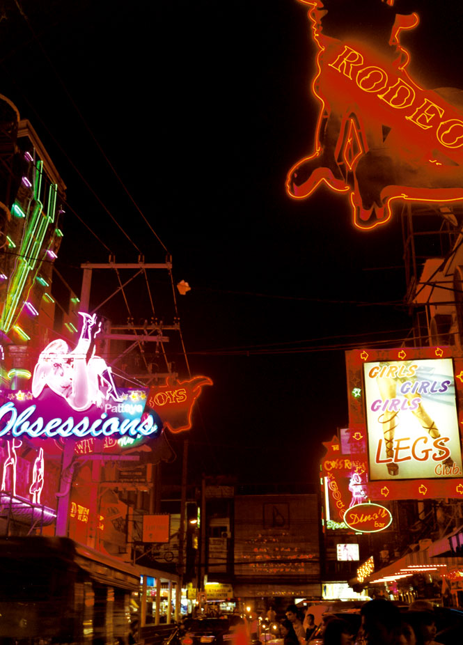 A neon-drenched strip of go-go bars.