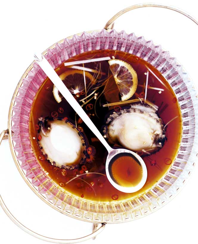 Chilled abalone in a broth with julienned vegetables, on the menu at the Shangri-La Hotel Dalian's Shang Palace restaurant.