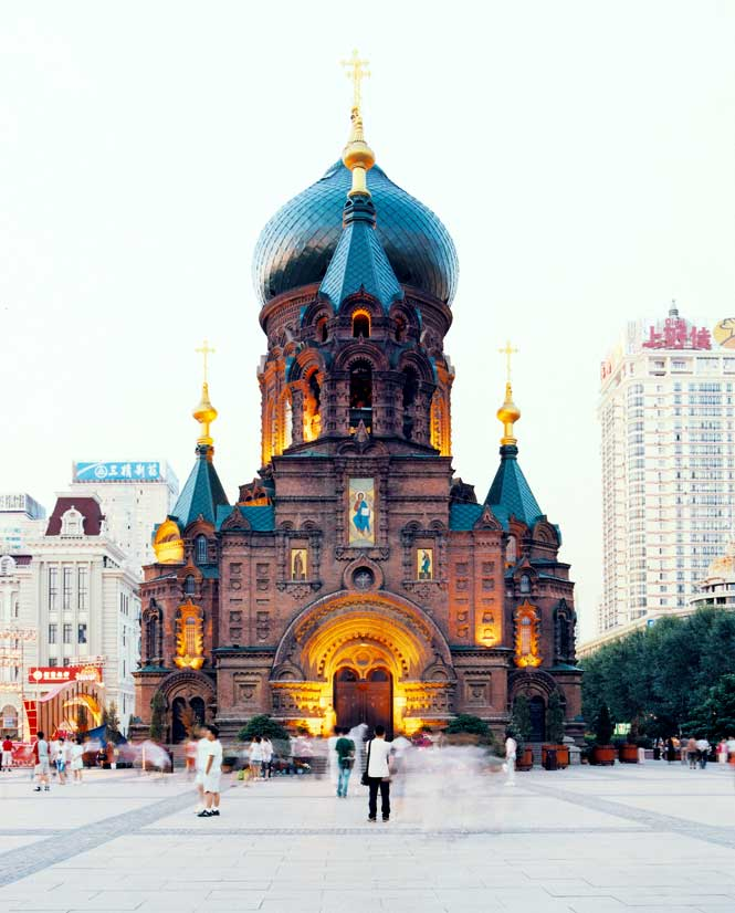 Built in 1907, the onion-domed Russian Orthodox cathedral of St. Sophia now serves a secular function as Harbin's Municipal Architecture and Art Museum.