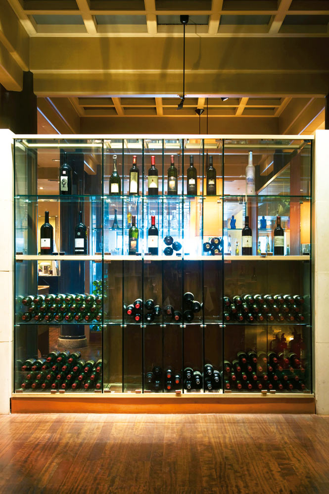 A wine rack at the InterContinental Grand Seoul