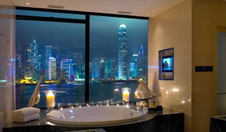 View from a jacuzzi at an InterContinental Hong Kong hotel suite.