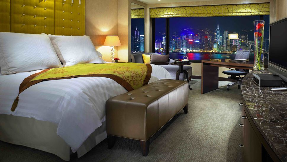 A harbor-view room at InterContinental Hotel Hong Kong.