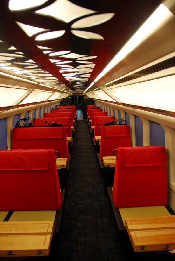 The newly designed trains feature cherry reliefs, indicative of Yamagata's cherry trees.