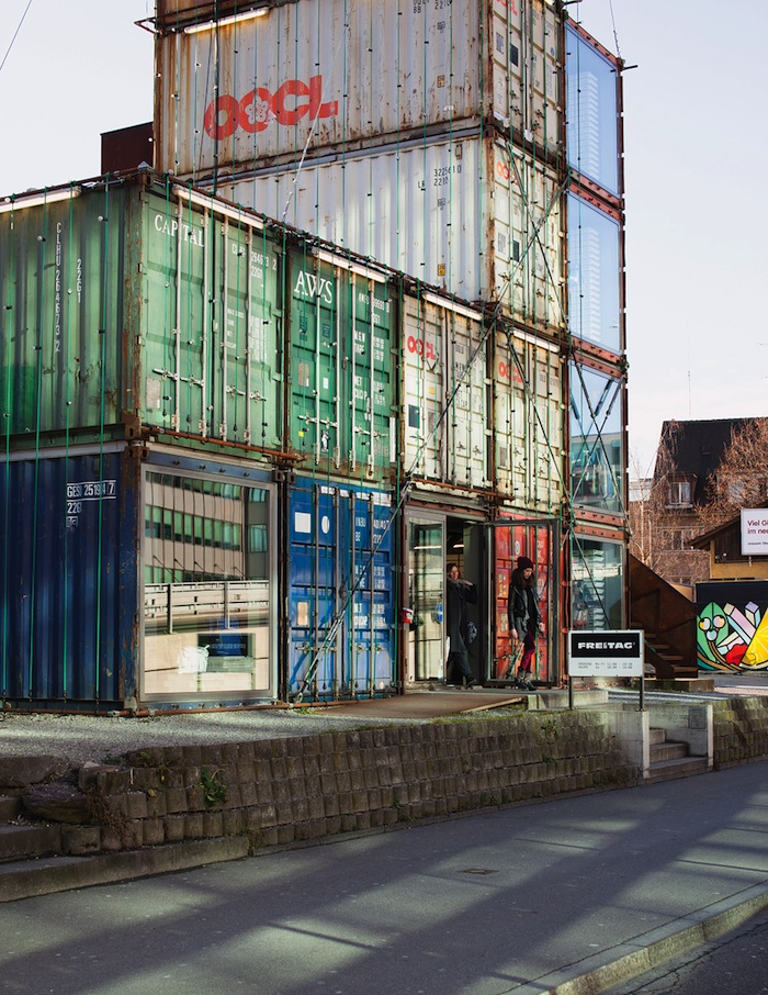 Zurich West's Freitag flgship store occupies an assemblage of shipping containers.