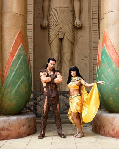 Character escorts at the Revenge of the Mummy ride in Universal Studios' Ancient Egypt zone