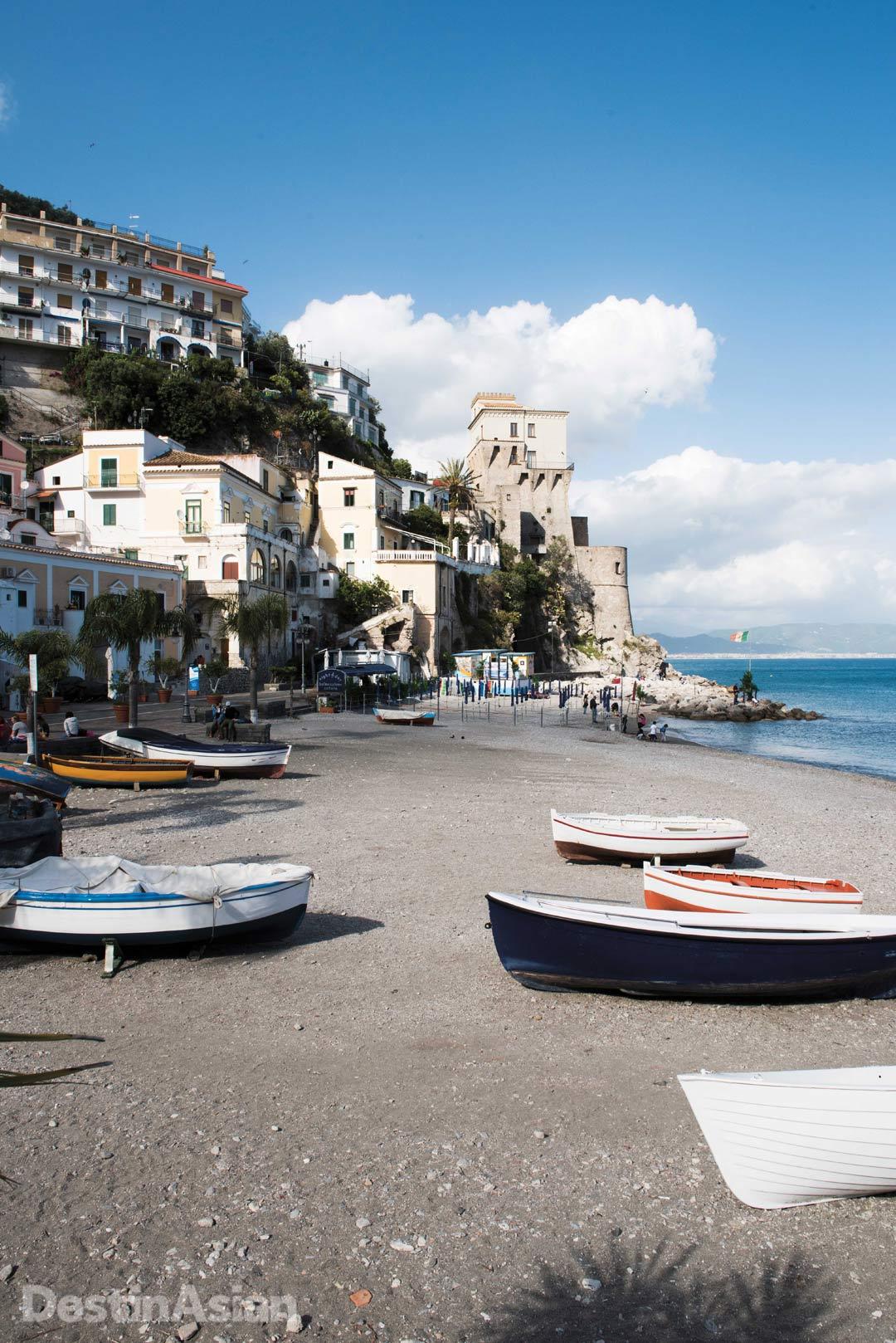 The main beach at Cetara, a fishing town on the Amalfi Coast.