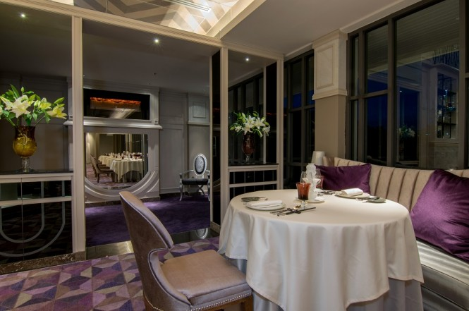 Inside J'AIME, the hotel's French restaurant created by three-Michelin-starred chef Jean-Michel Lorain.