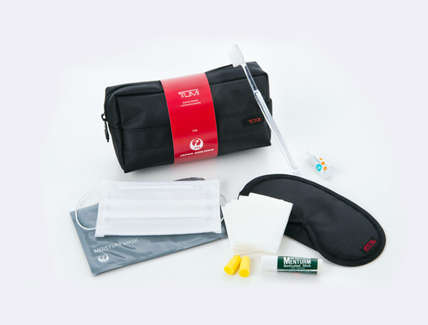 JAL's new business class amenity kits.