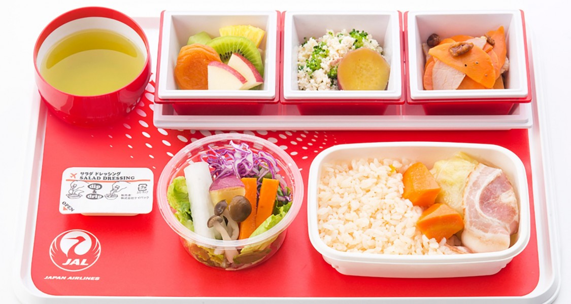 JAL's new international menu, cabbage roll and tomato rice.