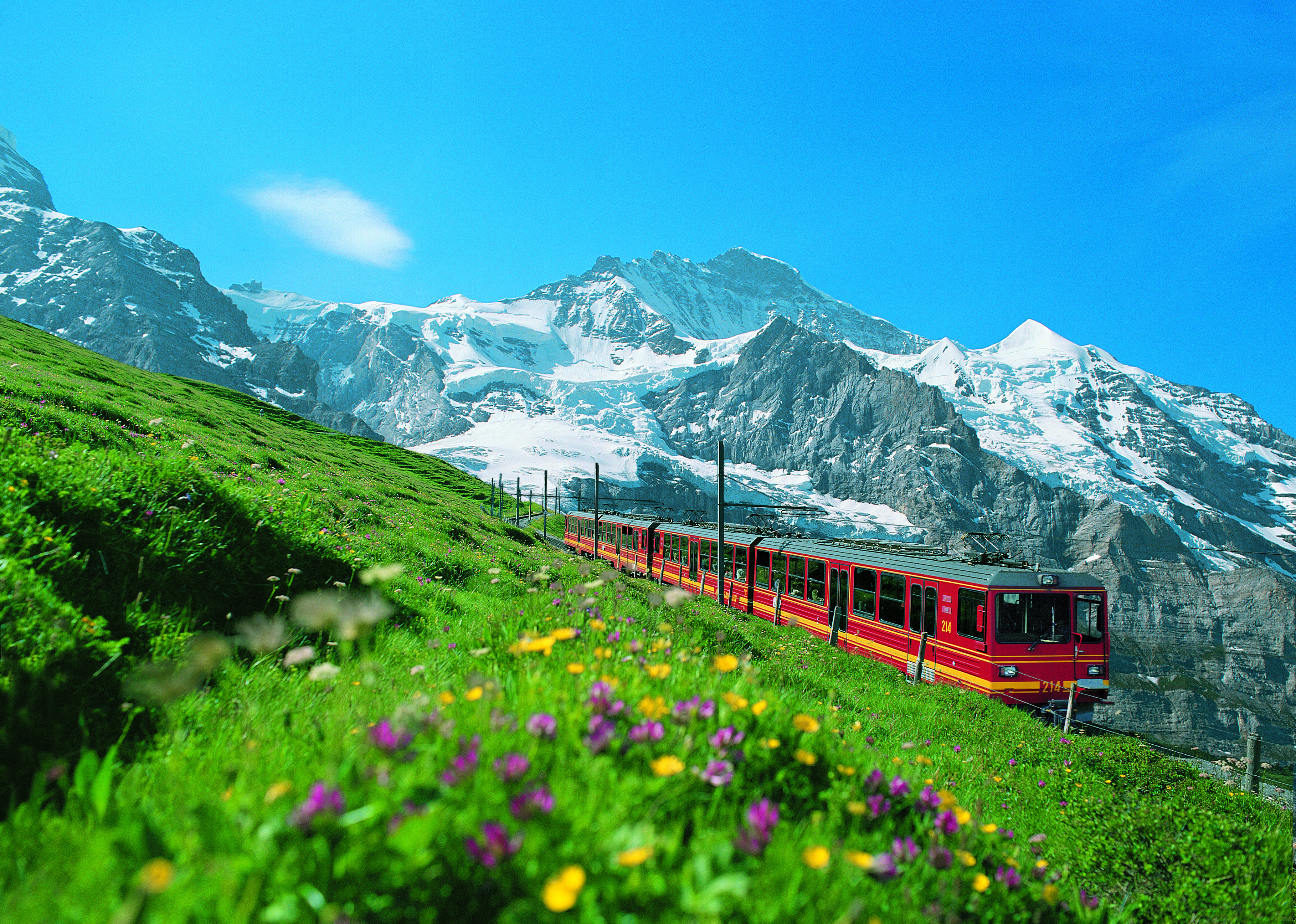 The Jungfraubahn train accompanied by the majestic backdrop of the Jungfrau.