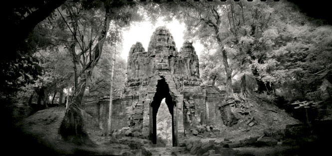 The west gate of Angkor Thom.