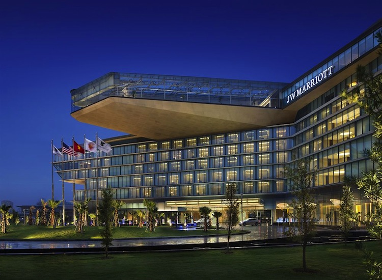 The JW Marriott Hanoi's futuristic exterior.
