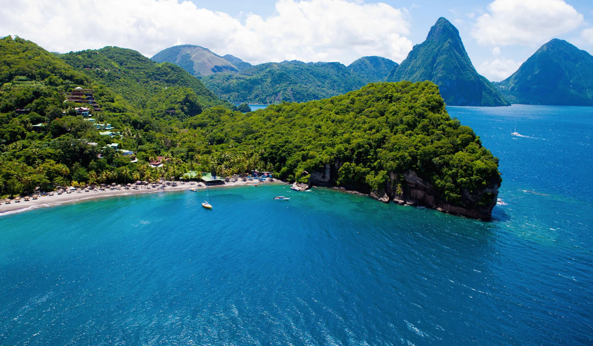 An overview of Jade Mountain resort, St. Lucia.