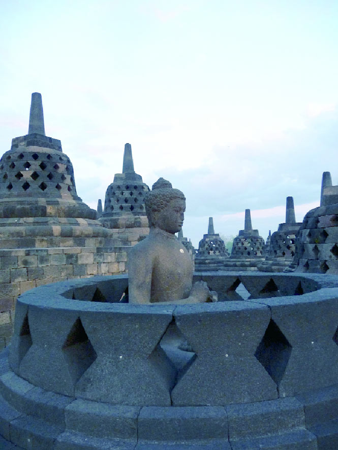 The top terraces of Borobudur at dawn.