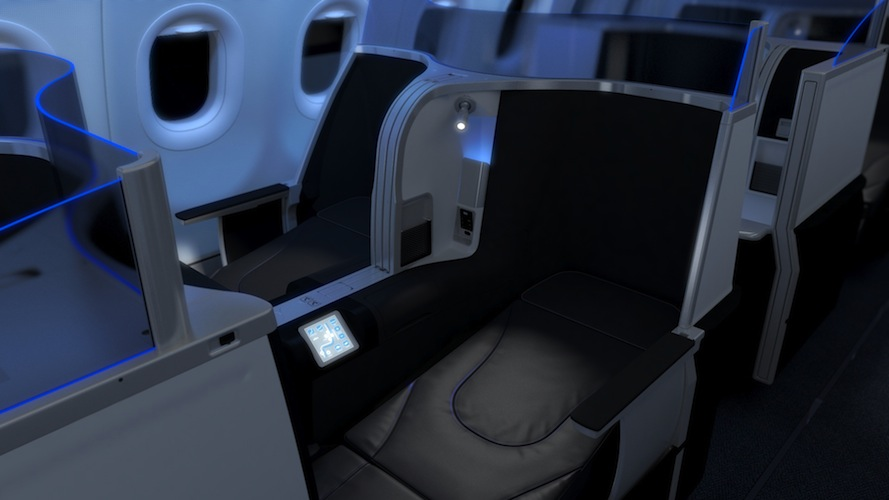 JetBlue's refreshed cabin seating with lie-flat seats.