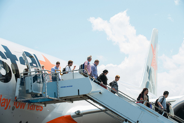 Jetstar's first commercial Boeing 787 Dreamliner flight from Melbourne to the Gold Coast Airport on November 13, 2013.