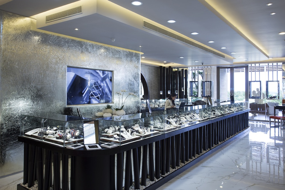 Displays are accented with stones and crystals selected by creative director Guy Bedarida.