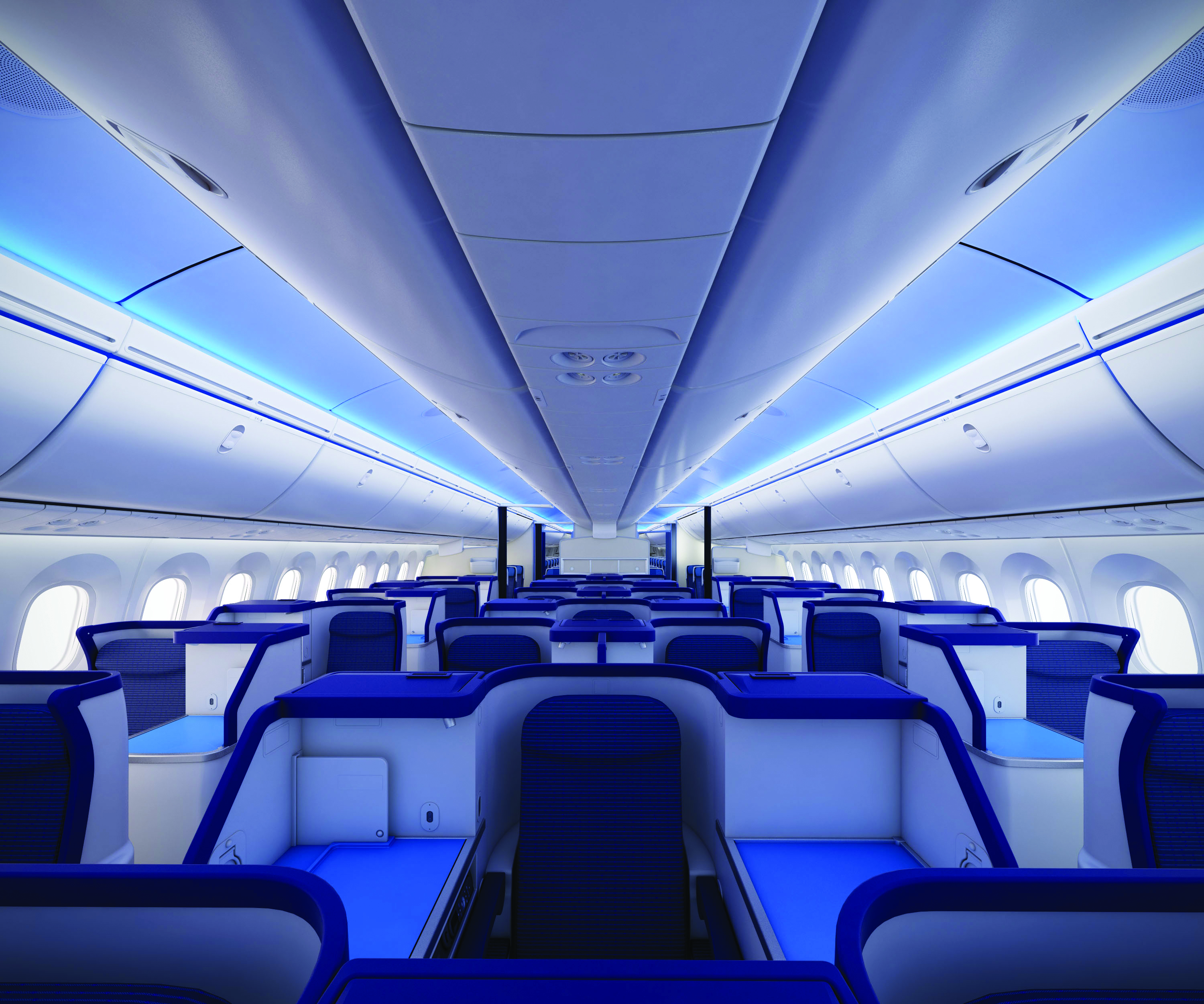 Premium cabin interiors on All Nippon Airways' long-haul Boeing 787