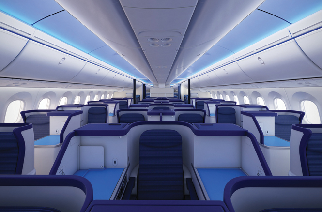 The premium cabin aboard one of All Nippon Airways' long-haul Boeing 787s.