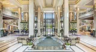 The lobby oozes luxury and a sophisticated European charm.